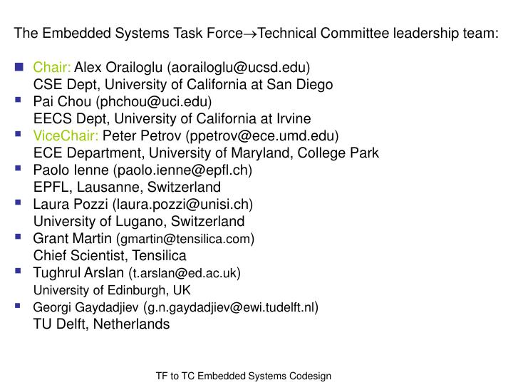The Embedded Systems Task Force