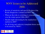 wnv issues to be addressed 2004