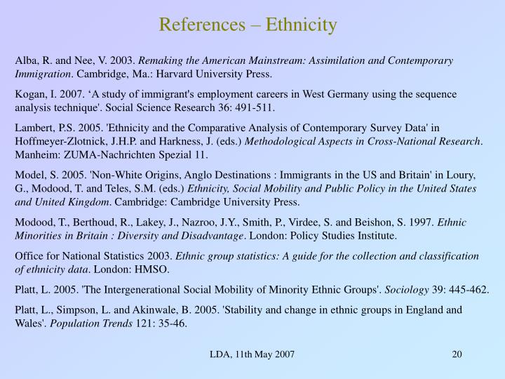 References – Ethnicity