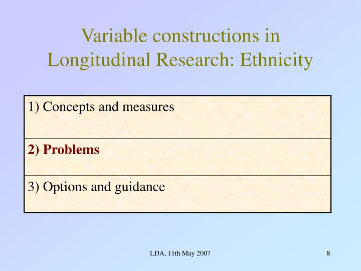Variable constructions in Longitudinal Research: Ethnicity