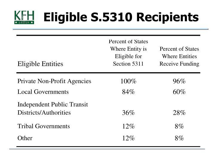 Eligible S.5310 Recipients