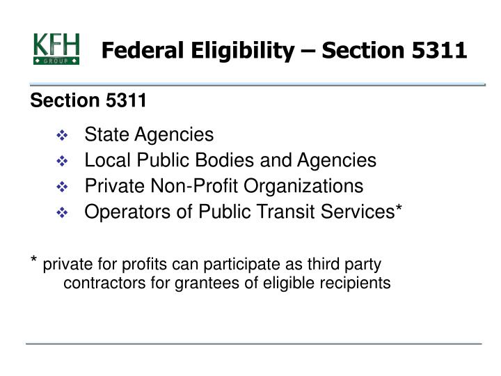 Federal Eligibility – Section 5311
