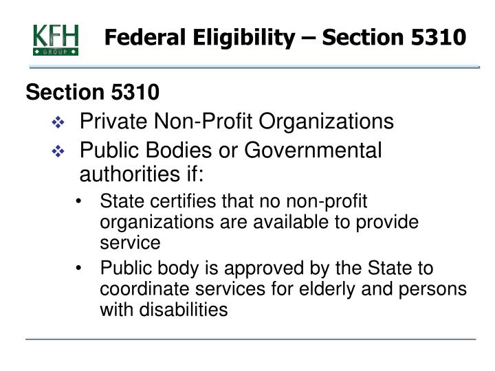 Federal Eligibility – Section 5310