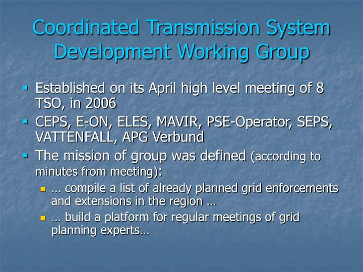 Coordinated Transmission System Development Working Group