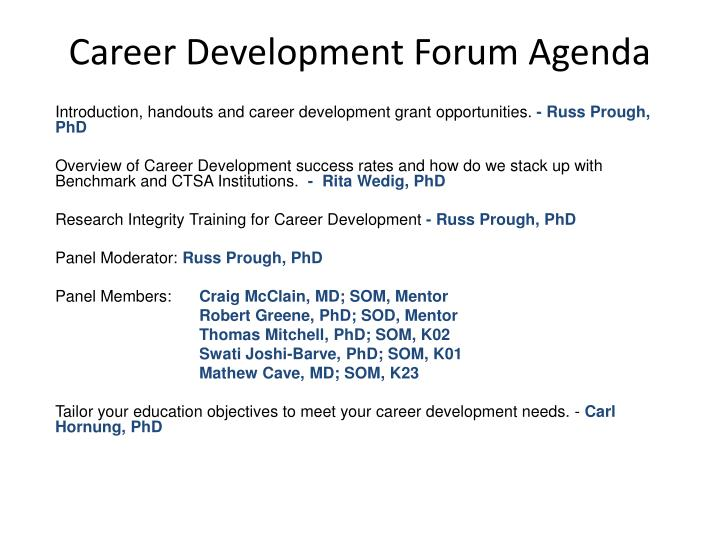 Career development forum agenda