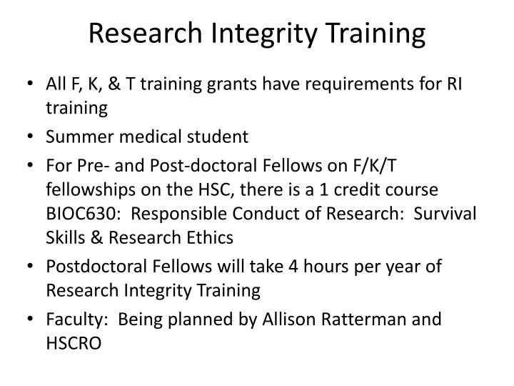 Research Integrity Training