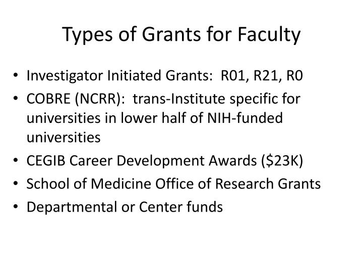 Types of Grants for Faculty