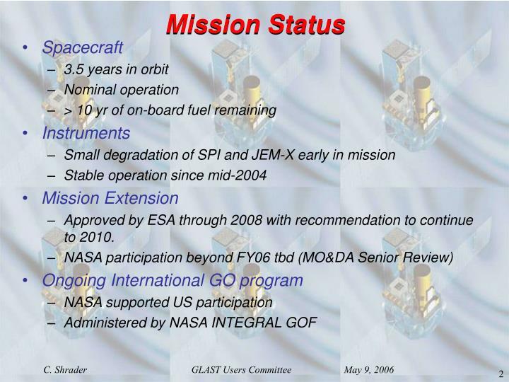 Mission status