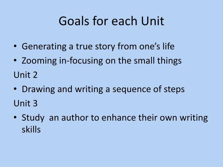 Goals for each Unit