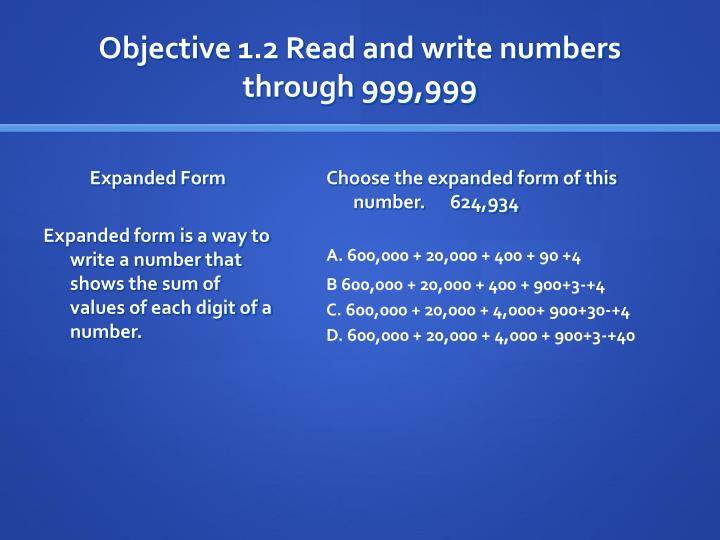 Objective 1 2 read and write numbers through 999 999