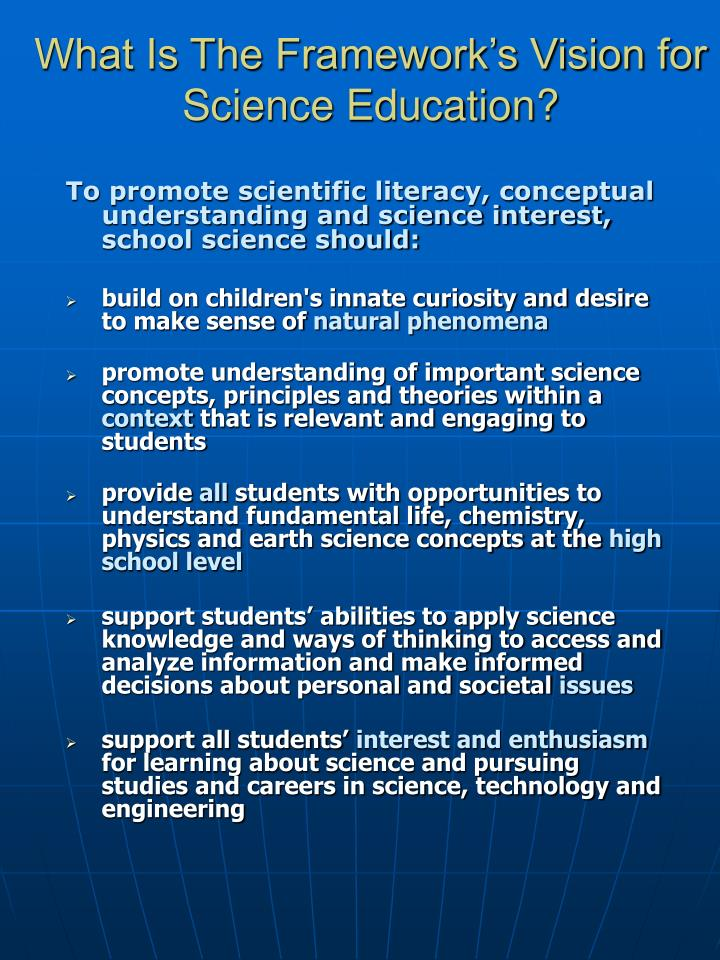 What Is The Framework's Vision for Science Education?