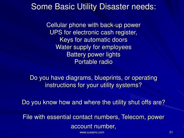 Some Basic Utility Disaster needs: