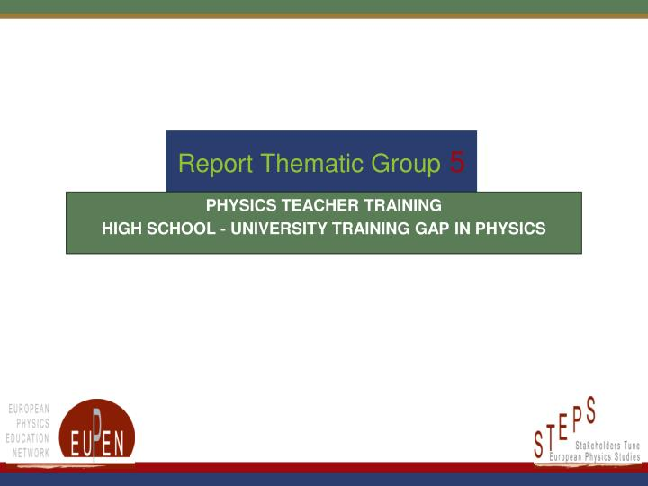 report thematic group 5 n.