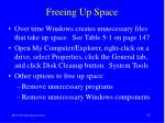 freeing up space