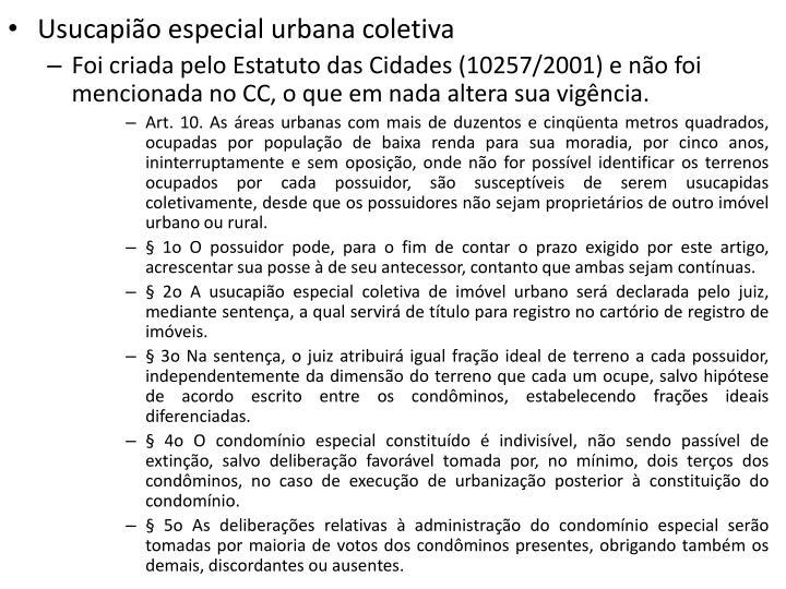 Usucapião especial urbana coletiva