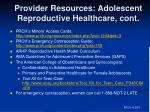 provider resources adolescent reproductive healthcare cont