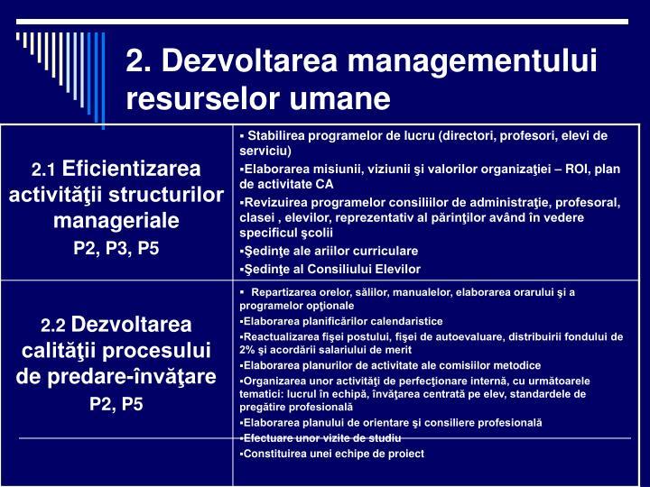 2. Dezvoltarea managementului resurselor umane