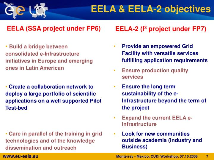 EELA & EELA-2 objectives