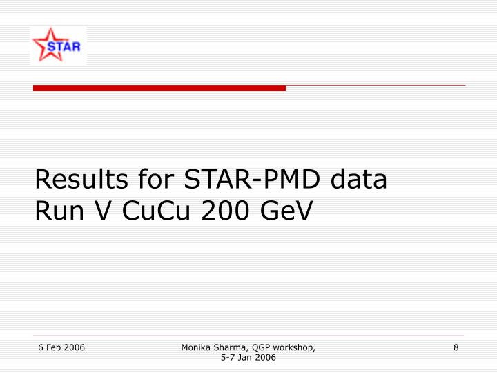 Results for STAR-PMD data