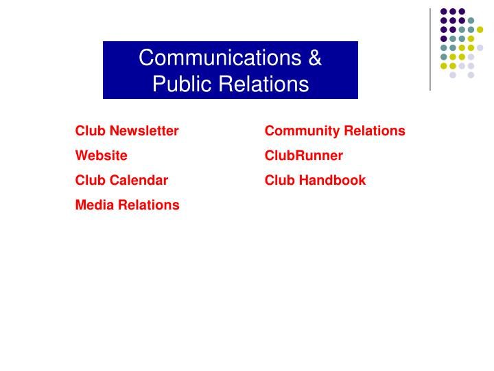 Communications & Public Relations