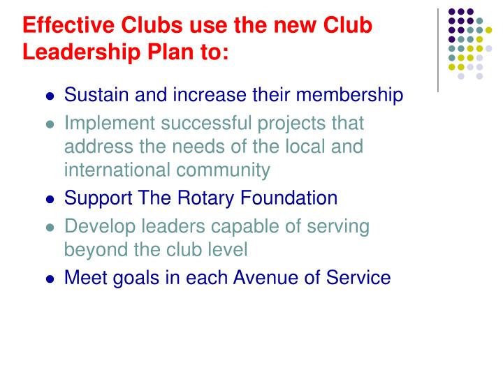 Effective Clubs use the new Club Leadership Plan to: