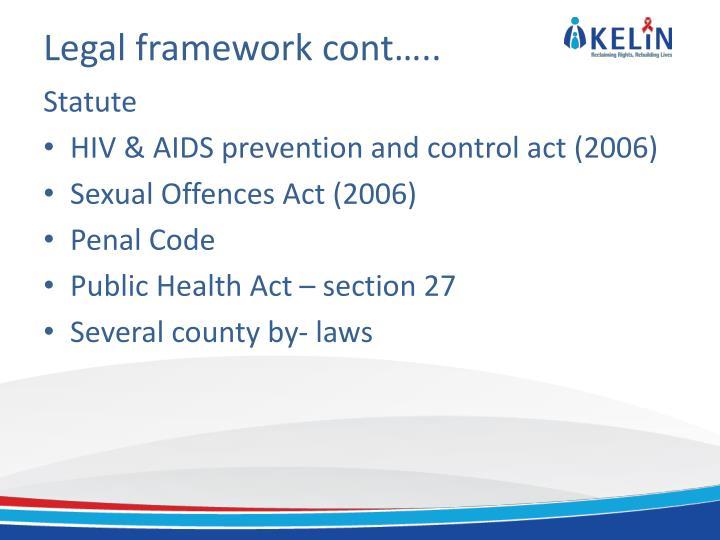 Legal framework cont…..