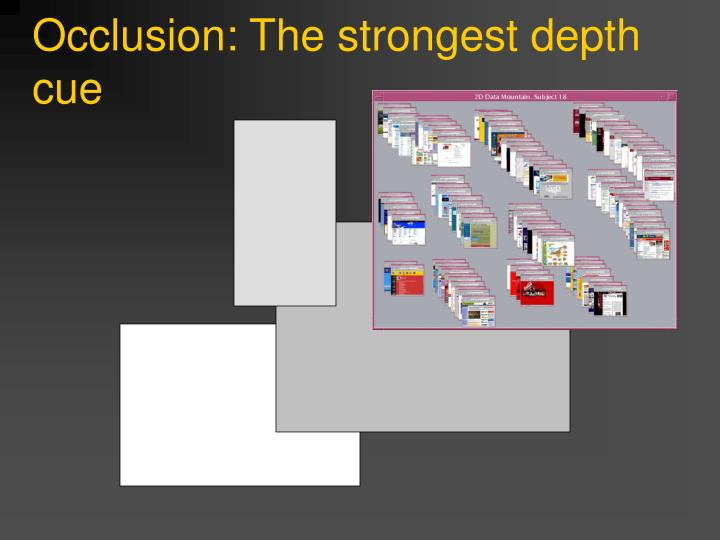 Occlusion: The strongest depth cue
