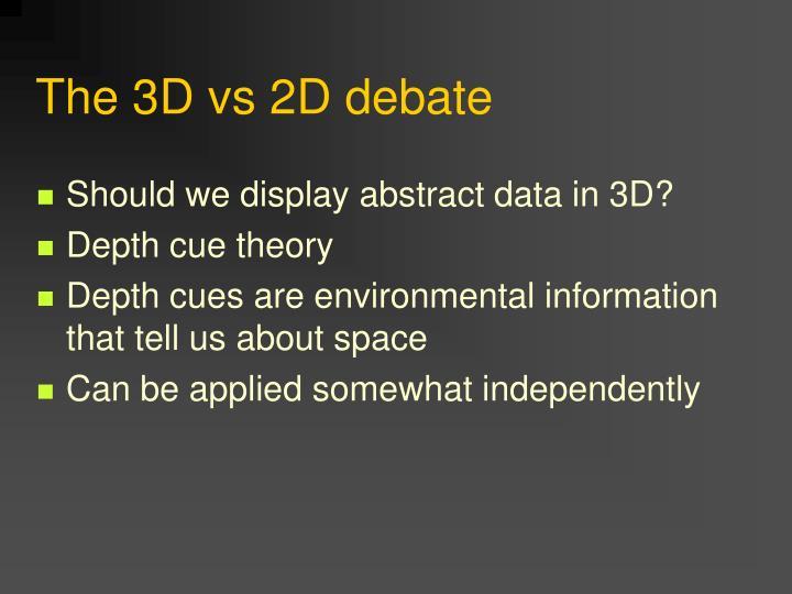 The 3D vs 2D debate