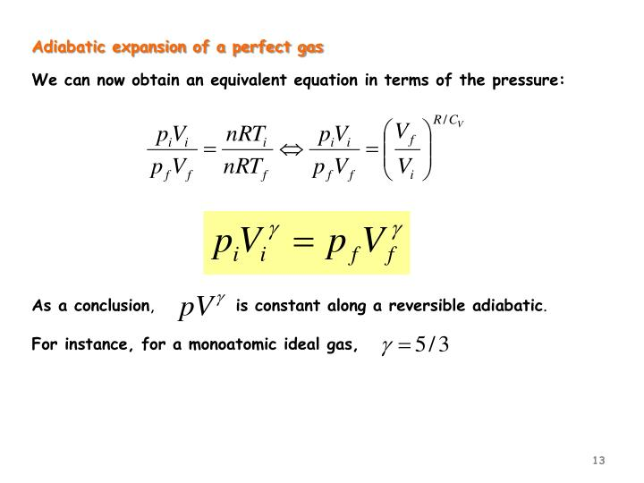 Adiabatic expansion of a perfect gas