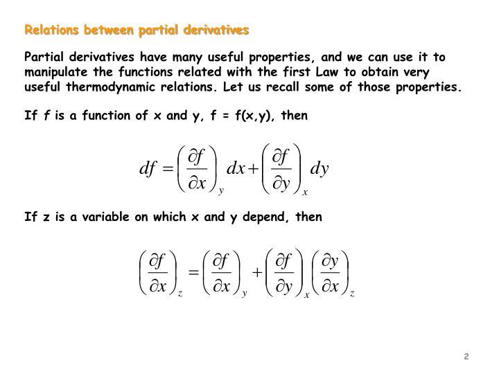 Relations between partial derivatives
