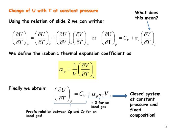 Change of U with T at constant pressure