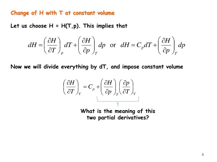 Change of H with T at constant volume