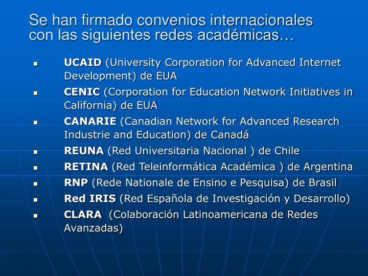 Se han firmado convenios internacionales con las siguientes redes académicas…