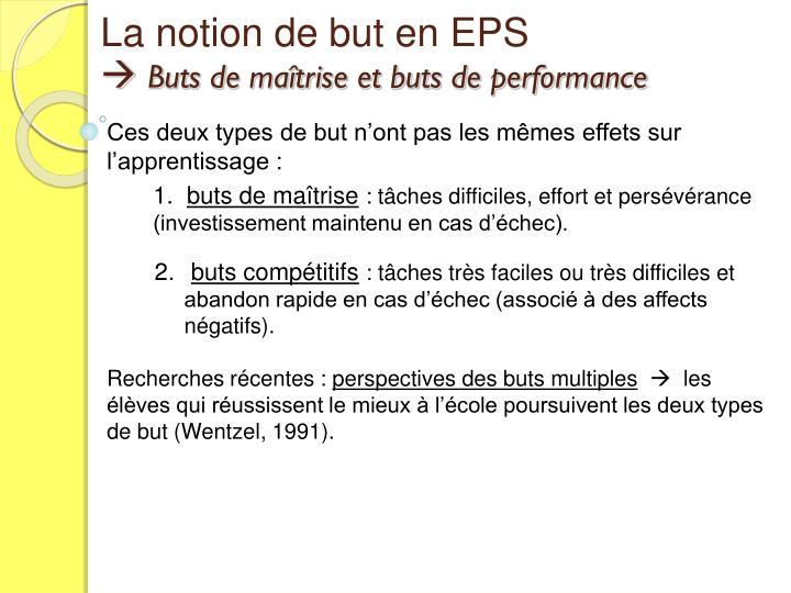 La notion de but en EPS