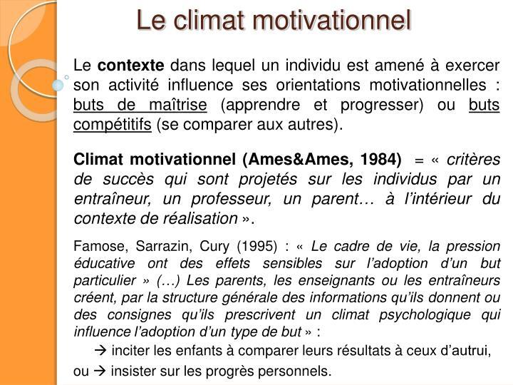 Le climat motivationnel