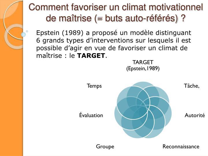 Comment favoriser un climat motivationnel de maîtrise (= buts auto-référés) ?