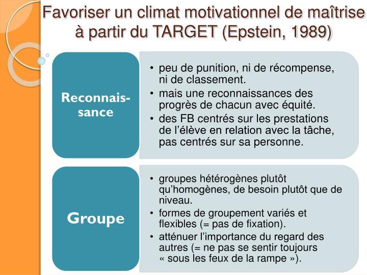 Favoriser un climat motivationnel de maîtrise à partir du TARGET (Epstein, 1989)