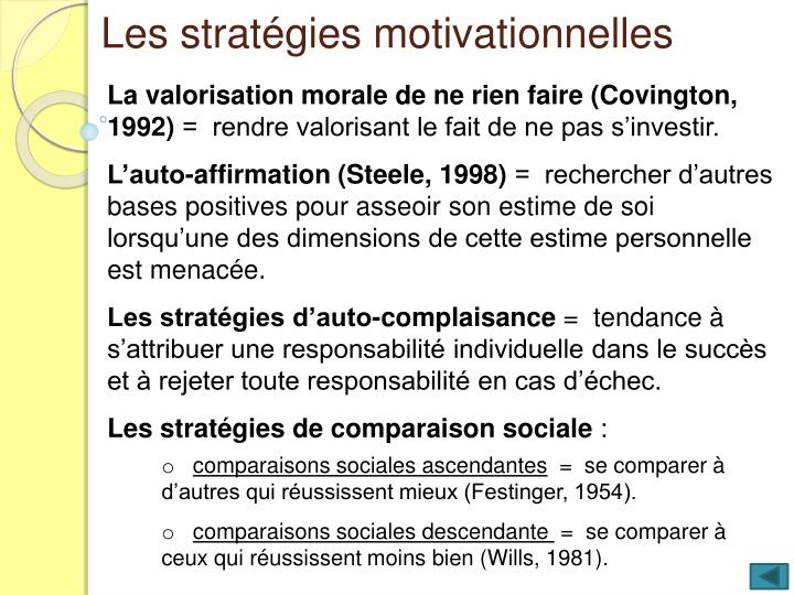 Les stratégies motivationnelles