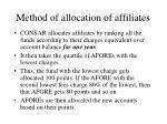 method of allocation of affiliates