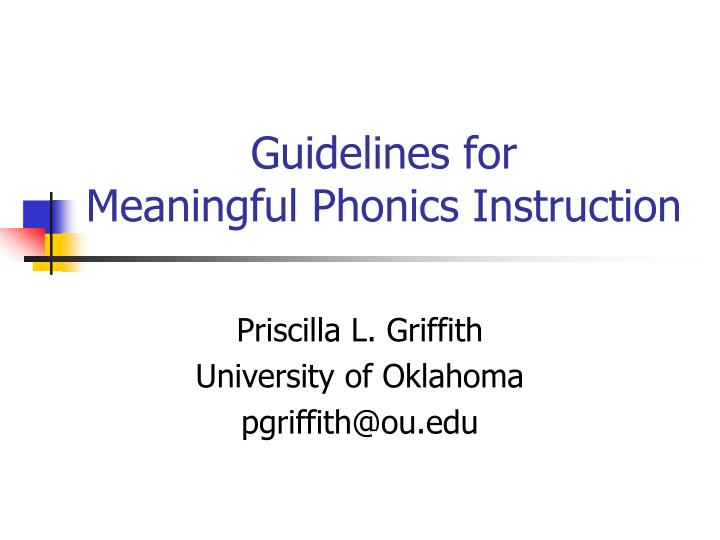 guidelines for meaningful phonics instruction n.