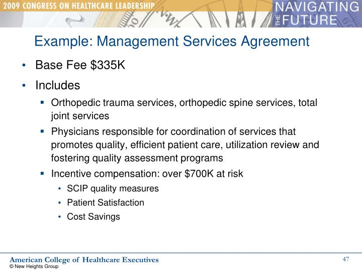 Example: Management Services Agreement