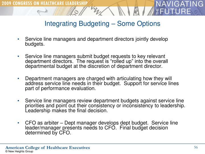 Integrating Budgeting – Some Options