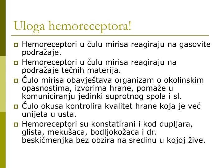 Uloga hemoreceptora!