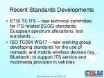 recent standards developments