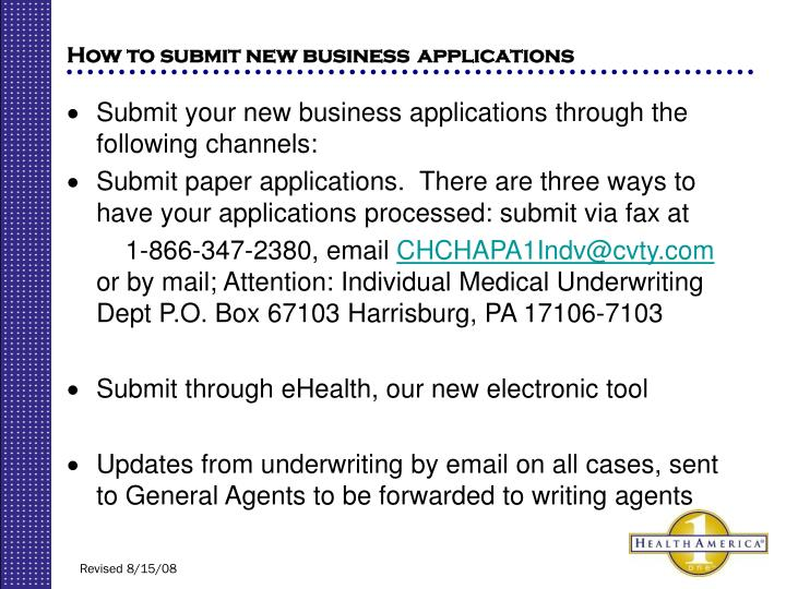 How to submit new business
