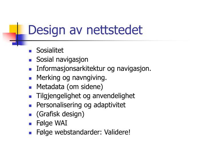 Design av nettstedet