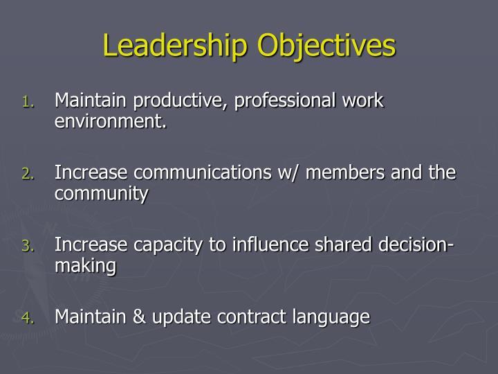 Leadership Objectives