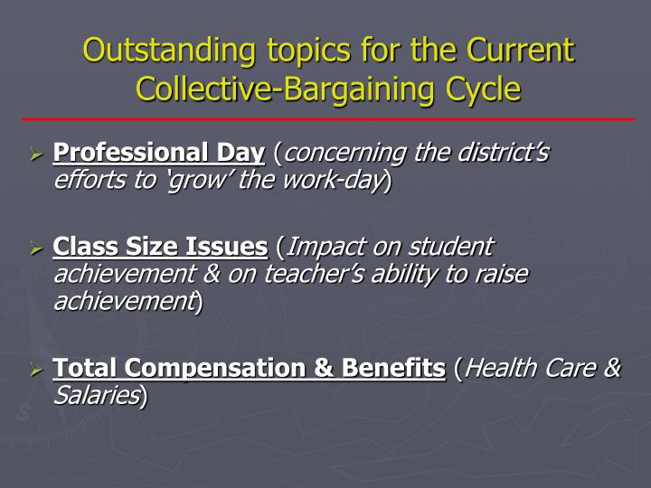 Outstanding topics for the Current Collective-Bargaining Cycle