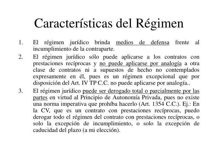 Características del Régimen