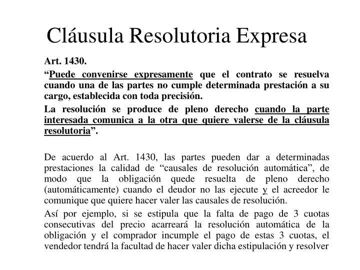 Cláusula Resolutoria Expresa